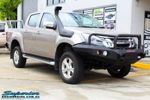 """Right front view of a Silver Isuzu D-Max Dual Cab after fitment of a Superior Nitro Gas 2"""" Inch Lift Kit + MCC Rocker Bull Bar + Rear Bar & a Superior Diff Drop Kit"""