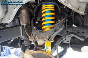 """Front left inside guard view of the fitted Bilstein 2"""" Front Strut + King Coil Spring"""