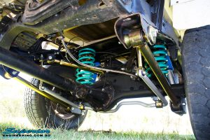 Left side view of the fitted Superior Nitro Gas Shock Absorber with Coil Spring, Lower Control Arm, Upper Control Arm and Sway Bar Kit
