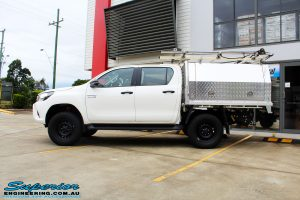 "Left side view of a White Toyota Revo Hilux Dual Cab after fitment of a Bilstein 2"" Inch Lift Kit"