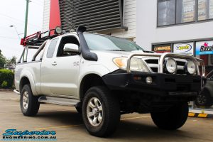 "Right front side view of this Toyota Vigo Hilux Xtra Cab before fitment of a Bilstein 4"" Inch Lift Kit"