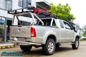 """Rear right view of this Toyota Vigo Hilux Xtra Cab before fitment of a Bilstein 4"""" Inch Lift Kit"""