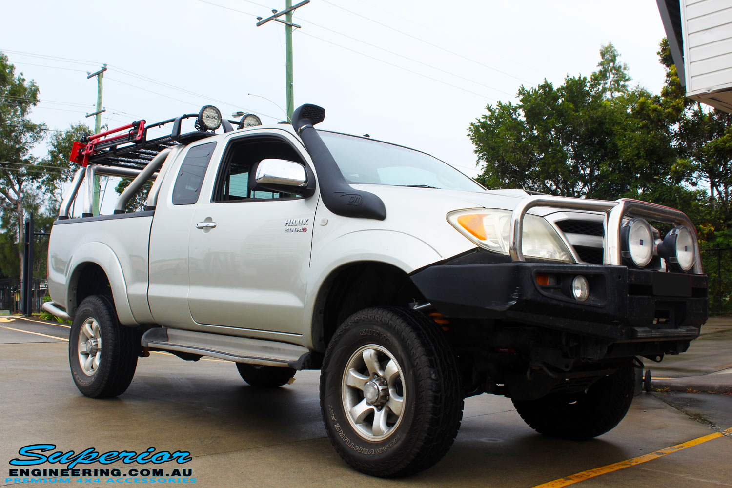 "Right front side view of this Toyota Vigo Hilux Xtra Cab after fitment of a Bilstein 4"" Inch Lift Kit"