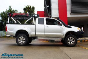 """Right side view of this Toyota Vigo Hilux Xtra Cab after fitment of a Bilstein 4"""" Inch Lift Kit"""