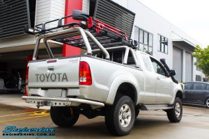 """Rear right view of this Toyota Vigo Hilux Xtra Cab after fitment of a Bilstein 4"""" Inch Lift Kit"""