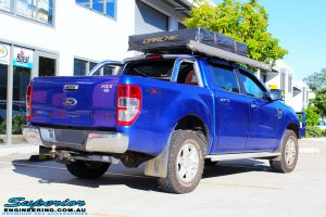 """Rear right view of a Ford PXII Ranger in Blue before fitment of a Superior Nitro Gas 2"""" Inch Lift Kit"""