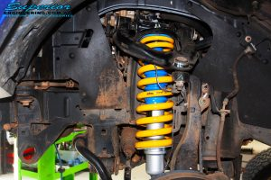 Front right inside view of the fitted Nitro Gas Front Strut + King Coil Springs