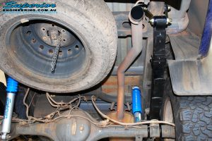 Rear underbody view of the fitted Superior Nitro Gas Shocks + EFS Leaf Springs