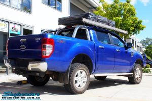 "Rear right view of a Ford PXII Ranger in Blue after fitment of a Superior Nitro Gas 2"" Inch Lift Kit"