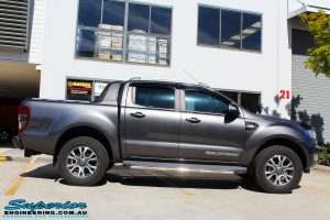 "Right side view of a Ford PXII Ranger in Grey before fitment of a Superior Nitro Gas 2"" Inch Lift Kit"