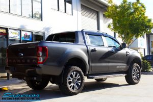 "Rear right view of a Ford PXII Ranger in Grey after fitment of a Superior Nitro Gas 2"" Inch Lift Kit"