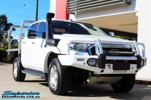 Right front side view of a Ford PXII Ranger in White On The Hoist @ Superior Engineering Deception Bay Showroom