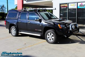 Right front side view of a Holden RC Colorado in Black before fitment of a Bilstein 40mm Lift Kit