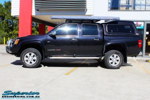 Side left view of a Holden RC Colorado in Black after fitment of a Bilstein 40mm Lift Kit