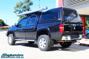Rear left view of a Holden RC Colorado in Black after fitment of a Bilstein 40mm Lift Kit