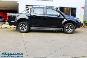 "Right side view of a Black Holden RG Colorado Dual Cab before fitment of a Superior Nitro Gas 2"" Inch Lift Kit"
