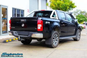 "Rear right view of a Black Holden RG Colorado Dual Cab before fitment of a Superior Nitro Gas 2"" Inch Lift Kit"