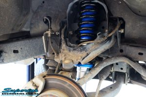 "Front right inside guard view of the fitted Superior Nitro Gas 2"" Strut + Coil Spring"