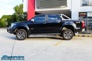 "Left side view of a Black Holden RG Colorado Dual Cab after fitment of a Superior Nitro Gas 2"" Inch Lift Kit"