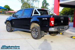 """Rear left view of a Black Holden RG Colorado Dual Cab after fitment of a Superior Nitro Gas 2"""" Inch Lift Kit"""