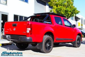Rear right view of a Absolute Red Holden Colorado RG before fitment of a Bilstein 45mm Lift Kit