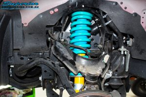 Left front inside view of the fitted Bilstein 45mm Front Strut with Coil Spring