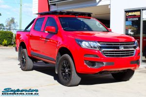 Right front side view of a Absolute Red Holden Colorado RG after fitment of a Bilstein 45mm Lift Kit