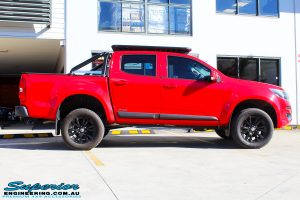 Side view of a Absolute Red Holden Colorado RG after fitment of a Bilstein 45mm Lift Kit