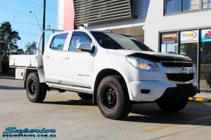 "Right front side view of a White Holden RG Colorado Dual Cab before fitment of a Superior Nitro Gas 2"" Inch Lift Kit"