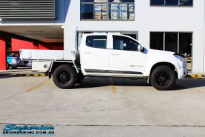 "Right side view of a White Holden RG Colorado Dual Cab before fitment of a Superior Nitro Gas 2"" Inch Lift Kit"