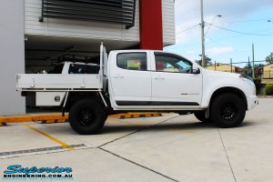 """Right side view of a White Holden RG Colorado Dual Cab after fitment of a Superior Nitro Gas 2"""" Inch Lift Kit"""
