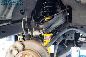 Right front inside view of the fitted Dobinson 40mm Front Strut + Coil Springs