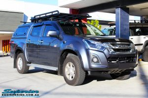 Right front side view of a Blue Isuzu D-Max Dual Cab before fitment of a Safari Snorkel & MCC 4x4 Bull Bar