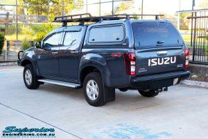 Rear right view of a Blue Isuzu D-Max Dual Cab after fitment of a Safari Snorkel & MCC 4x4 Bull Bar