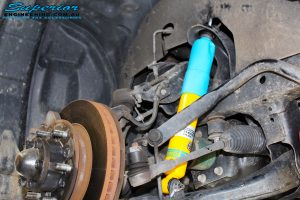 Left front inside view of the fitted Bilstein 40mm Front Shock + Torsion Bar