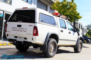 Rear right view of a White Isuzu D-Max Dual Cab after fitment of a Bilstein 40mm Lift Kit