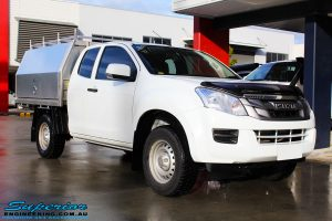 """Right front side view of a White Isuzu D-Max Dual Cab before fitment of a Superior Nitro Gas 2"""" Inch Lift Kit"""