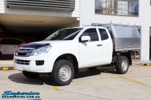 """Left front side view of a White Isuzu D-Max Dual Cab after fitment of a Superior Nitro Gas 2"""" Inch Lift Kit"""