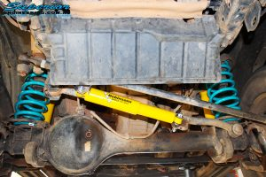 """Rear underbody view of the fitted Dobinson 2"""" Inch Rear Shocks with Coil Springs"""