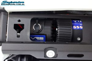 Close up view of the fitted VRS Winch inside the Rhino 4x4 Evolution 3D Winch Bar