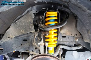 "Right front inside view of the fitted 2"" Inch Front Strut with Coil Spring"