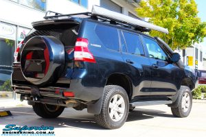 """Rear right view of a Toyota 150 Landcruiser Prado in Blue after fitment of a 2"""" Inch Lift Kit & Heavy Duty Towing Points"""