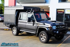"""Left front side view of a Grey Toyota 79 Series Landcruiser Dual Cab before fitment of a EFS 2"""" Inch Leaf Springs Rear Lift, Nitto Trail Grapplers & Procomp Series 69 Alloy Wheels"""