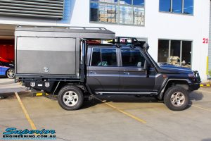 """Left side view of a Grey Toyota 79 Series Landcruiser Dual Cab before fitment of a EFS 2"""" Inch Leaf Springs Rear Lift, Nitto Trail Grapplers & Procomp Series 69 Alloy Wheels"""