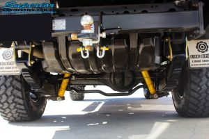 "Rear underbody view of the fitted EFS 3"" Inch Leaf Springs & Shackles"