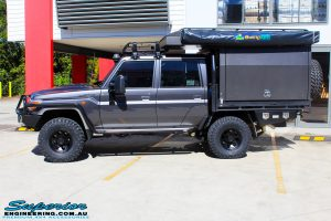 """Left side view of a Grey Toyota 79 Series Landcruiser Dual Cab after fitment of a EFS 2"""" Inch Leaf Springs Rear Lift, Nitto Trail Grapplers & Procomp Series 69 Alloy Wheels"""
