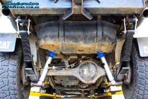 """Rear underbody view of the fitted Superior 2"""" Inch Nitro Gas Shocks with Leaf Springs"""