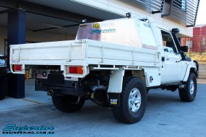 """Rear right view of a White Toyota 79 Series Landcruiser after fitment of a Superior Nitro Gas 2"""" Inch Lift Kit"""