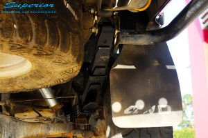 "Rear right underbody view of the fitted EFS 3"" Inch Leaf Spring"