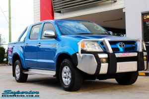 """Right front side view of a Blue Toyota Vigo Hilux Dual Cab before fitment of a Bilstein 2"""" Inch Lift Kit"""